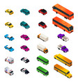different vehicle designs in isometric vector image vector image