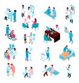 doctors and nurses isometric set vector image