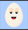 egg with eyes on white background vector image vector image