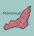 flat map of montreal is a city of canada with vector image