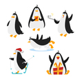 flat style set of christmas penguin Isolated on vector image vector image