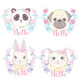 funny girlish seamless pattern with cute kitty vector image vector image