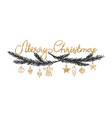 handwritten black and gold merry christmas card vector image vector image