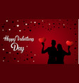 happy valentines day background silhouette couple vector image