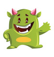 imaginary green monster with pink horns smiling vector image vector image