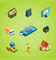 isometric online shopping iconsinfographic vector image
