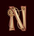 letter n of mechanic alphabet steampunk font vector image vector image
