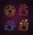 like neon light icons set vector image