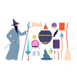 magic tools magical alchemy book wizard vector image