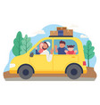 muslim family goes on holiday using a car vector image vector image