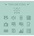 Mutimedia thin line icon set vector image
