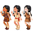 Native american indian girls in traditional vector image vector image