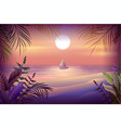 night landscape of tropical island palm trees vector image