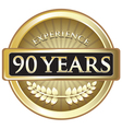 Ninety Years Experience Gold vector image