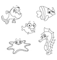 outlined sea creatures vector image vector image