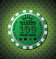 Poker chip 100 on green background vector image vector image