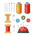 realistic detailed 3d sewing supplies for vector image