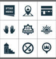 religion icons set with menu eid mubarak pray vector image vector image