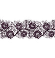 seamless lace ribbon with roses tracery of black vector image vector image