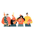 set characters preparing for christmas vector image vector image