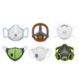 set isolated gas respirator doctor face mask vector image