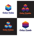 set minimalistic colorful cubes and vector image