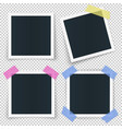 set of 4 photo frames stickied with colored vector image vector image
