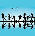 silhouette of children playing outdoor vector image vector image