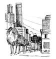 sketch city street vector image vector image