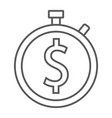 time is money thin line icon finance and banking vector image