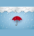 umbrella with heavy rain rainy season paper art vector image vector image
