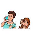 woman eavesdropping on telephone communication vector image