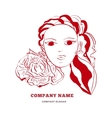 logo design template with female face and vector image