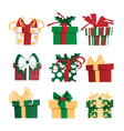 set of different gift boxes vector image