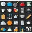 Kitchenware flat icons set vector image