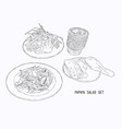 papaya salad or som-tum with grilled chicken and vector image