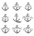 anchor symbol set vector image vector image