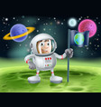 astronaut outer space cartoon vector image