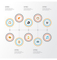 audio icons flat style set with compact disk vector image