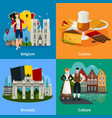 belgian landmarks flat style travel concept vector image vector image