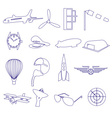 Blue aeronautical and aviation outline icons set