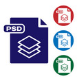blue psd file document download psd button icon vector image vector image