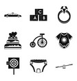 born with silver spoon icons set simple style vector image vector image
