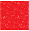 bright red seamless pattern with wavy music notes vector image vector image