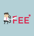 Businessman with scissors fee letter