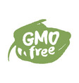 calligraphy gmo free label on a scribble vector image vector image