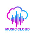 cloud music library streaming simple linear icon vector image vector image