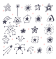 Collection of hand drawn stars Doodle stars vector image vector image