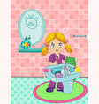 cute blonde little girl dressed in pajama vector image