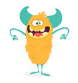 cute cartoon furry colorful monster vector image vector image
